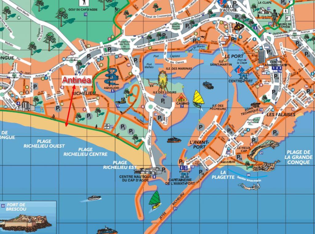 Location Vacances, Résidence Antinéa au Cap d'Agde. Plage de Rochelongue